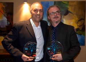 Christian Gayton (à droite) au côté de  William Pérès PDG de Serious Factory lors de la remise du prix Learn'Innov Genius de la meilleure innovation dans le domaine de la formation.