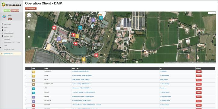 Capture d'écran de l'outil de UrbanGaming pour réaliser un jeu en fonction des besoins clients.